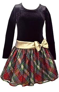 Bonnie Jean Girls Plaid Sparkle Gold Bow Hipster Dress  18 1/2 Multicolor
