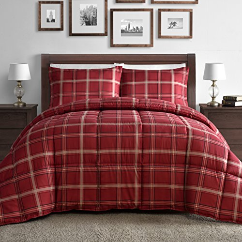Comfy Bedding Luxurious Rose Red Plaid Down Alternative 2 Piece Comforter Set (Twin, Red)