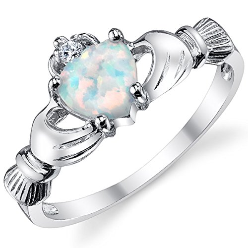 Ultimate Metals Co. Sterling Silver 925 Irish Claddagh Friendship & Love Ring with Opal Heart Size T 1/2