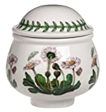 Botanic Garden covered sugar bowl, 3-1/4 inches high Hand-painted glazed earthenware. Bold mix-and-match floral designs with butterfly motifs and distinctive green leaf border Safe in freezer, microwave, and dishwasher; oven-safe to 340 degrees F Mat...