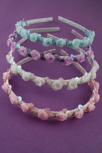 Aliceband - Rosebud ribbon wound headband alice band[White] by Mias Accessories
