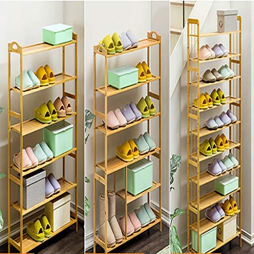 Zapatero de bambú, 100% natural y renovable, muy pesado y duradero zapatero de madera, estante multifuncional de almacenamiento adecuado para pasillo, sala de estar, dormitorio, tamaño opcional/capa zapato Ra, Seis., 70 cm
