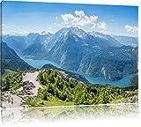 Pixxprint Blick vom Berg über dem Königssee in Bayern,