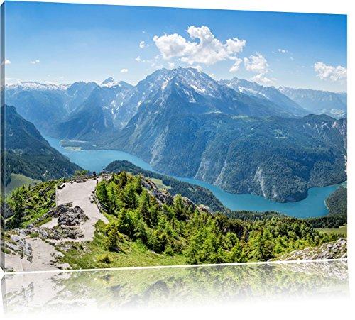 Pixxprint Blick vom Berg über dem Königssee in Bayern, Format: 120x80 auf Leinwand