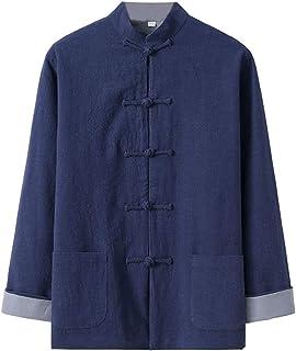 FMOGQ Męski garnitur Tang Kung Fu kurtka, chińskie tradycyjne sztuki walki mundurki bawełna len tai chi odzież kurtka skrz...