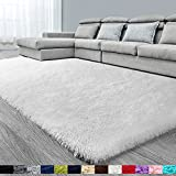 White Soft Area Rug for Bedroom,5x7,Fluffy Rugs,Shag Carpet for Living Room,Furry Rugs for Girls Baby Room,Shaggy Rug for Kids Room,Nursery,Dorm,Anti-Slip Rectangle Rug,White Carpet,Home Decor