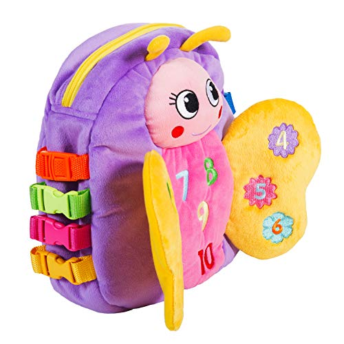 Buckle Toy - Blossom Butterfly Activity Backpack - Educational Learning Toy with Zippered Pouch for Storage - Great Gift for Toddlers, Girls and Kids, Purple - 11 x 9 inches