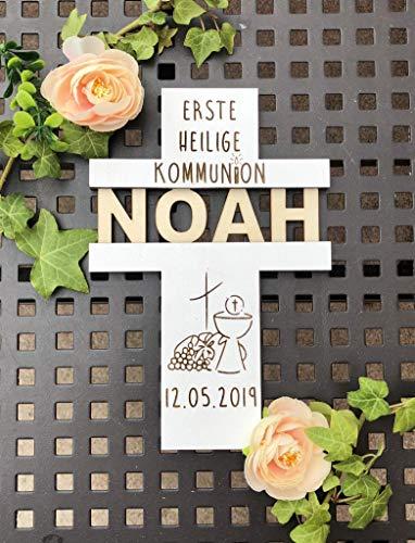Personalisiertes Kreuz mit Namen zur Kommunion, Konfirmation ! Geschenk ! Motiv: Kelch