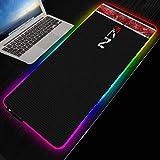 Mass Effect N7 RGB tapis de souris de jeu grand ordinateur Gamer XXL pad rétro-éclairage Mause clavier tapis de bureau-400X900MM_4MM