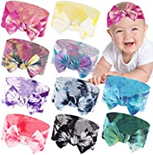 XIMA 10PACK Baby Girl Headbands Nylon Tie Dye Newborn Infant Toddler Hairbands and Bows Hair Accessories