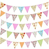 HOWAF 39,5 Fuß Wimpelkette Girlande Banner Farbenfroh Süße Wimpelkette für Garten Außenbereich Hochzeit Babydusche Geburtstagsparty Zuhause Dekoration, 42pcs Wimpel 12m