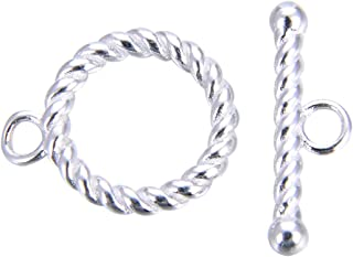 2 Sets Sterling Silver Round Twisted Toggle Clasp Connectors 13mm for Bracelet Necklace Jewelry Craft Making SS397