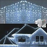 Geemoo Rideau Lumineux 360 LED, 9M Guirlande Lumineuse Exterieur Noel avec Télécommande, 8 Modes D'éclairage, IP44 étanche, Decoration Noel Exterieur pour Mariage, Balcon, Maison, Fêtes (Blanche)