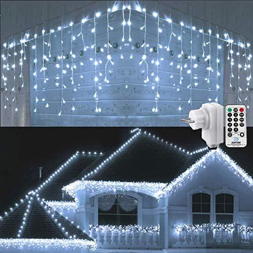 Geemoo Luci Natale Esterno Cascata, 9M 360 LED Tenda Luminosa Bianco, Luci Nataliazie con Telecomando, 8 modalità, Luci Decorazione Natale per Feste, Finestra, Casa, Cortile