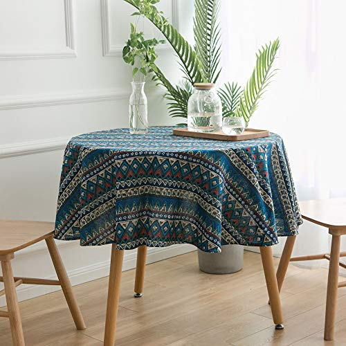 shiyueNB Yi Qi Qi Reim geometrische diamant rond tafelkleed klein tafelkleed tafelkleed koffietafelkleed katoen en linnen druk Japanse stijl Rund 150cm Blauwe driehoek.