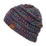 Hatsandscarf Cable Knit Beanie - Thick, Soft & Warm Chunky Beanie Hats (Black Multi Mix)
