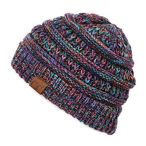 C.C Hatsandscarf Cable Knit Beanie - Thick, Soft & Warm Chunky Beanie Hats (Black Multi Mix)