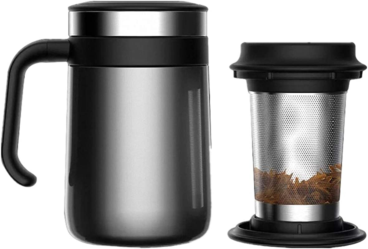Stainless Steel Insulated Tea Mug With Infuser And Lid For Loose Tea 16 2 Ounces Office Home High End Tea Cup