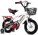 YANGHONG-Bicicleta de montaña deportiva- Montaña Bikefor Kids, Boys Girls Sosteny Bicycle con Ruedas y Cesta de Entrenamiento, Bicicleta para niños de acero altos Carbono Para 2-12 años, Blanco 1,16 p