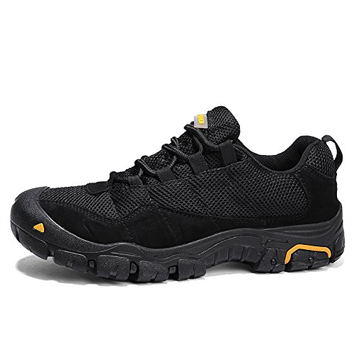 TANTU Men's Outdoor Mountaineering Shoes, Antiskid and wear-Resistant Hiking Shoes, Breathable mesh Cloth Sports Casual Shoes (9.5, Black)