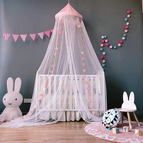 Mosquitera para cama de niños jugando/lectura, redondo malla cortinas mosquitera dosel tienda, Decoración del dormitorio, Rosado