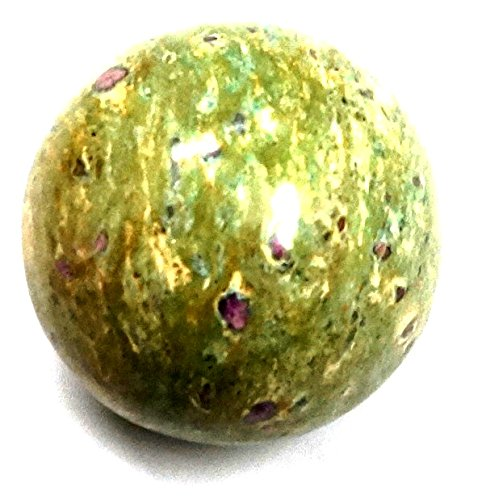 SHIVANSH CREATIONS Healing Crystals Naturals Gemstone Hand Carved Aura Balancing Metaphysical Green Ruby Zosite Sphere Ball 40-50 MM