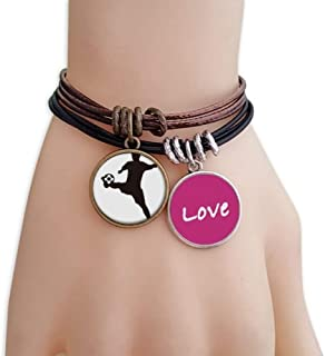 Sihouette Football soccer Sports Love Bracelet Leather Rope Wristband Couple Set