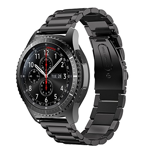 For Samsung Gear S3 Frontier,GBSELL Stainless Steel Watch Band Strap Metal Clasp (Black)
