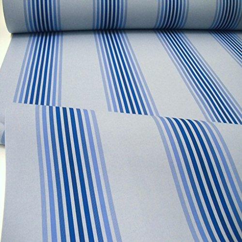 TOLKO Sonnenschutz Markisen-Stoffe als Meterware Zum Nähen mit UV-Schutz 50+ | Wasserdicht, Extra Langlebig - Ohne Ausbleichen (Blau Gestreift)
