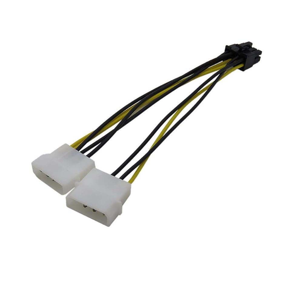 慢なスカリーたくさんuu19ee 2 IDE デュアル 4ピン オス - 8ピン メス IDE 電源ケーブルアダプターコネクター ビデオカード用