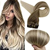 Full Shine Remy Clip Hair Extensions 22 Inch Balayage Clip In Hair Extensions Ash Brown Color 8 Fading to 60 Platinum...