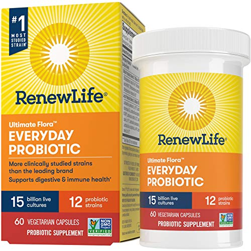 Renew Life Adult Probiotic - Ultimate Flora Everyday Probiotic, Shelf Stable Probiotic Supplement - 15 Billion - 60 Vegetable Capsules (Packaging May Vary)