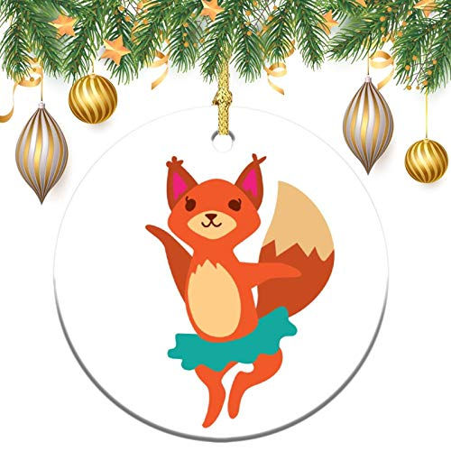 None-brands Monogram Ornament Wreath Ornament Xmas Tree Ornament Custom 2020 Ornament Fox in Tutu Ornament,Christams Xmas Gift,Christmasation,Round Flat Keepsake