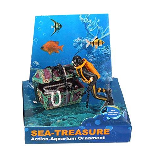 SODIAL(R) Neue Schatztruhe Form Aquarium Action Luft Ornament Fuer Aquarium Aquascaping Farbe: Schwarz