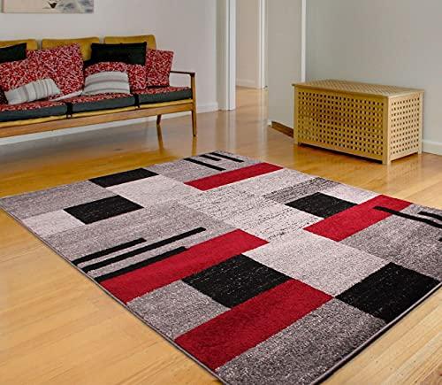 Modern Spirit Blocks Alfombra geométrica en gris, marrón, rojo, gris beige ocre, verde azulado, ladrillo, morado negro alfombra (80 x 150 cm)