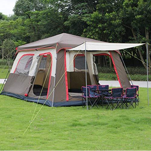 F&zbhzy Tenda Colore Marrone Ultralarge 6 10 12 camere Doppie da 2 Strati da Esterno e Tenda da Campeggio per Famiglie con Un palo Fisso, Kakhi