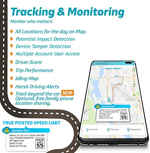 Rastreador de GPS Vyncs Sin Costo mensual OBDII, Rastreador de GPS para automóvil en Tiempo Real 3G 1 año de Datos gratuitos Avisos para el Conductor de los Viajes Supervisión de la Flota Combustible