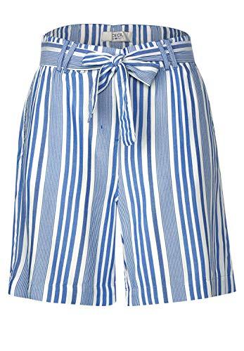 Cecil Damen Loose Fit Shorts Santorini Blue 25 locker geschnitten, Mittlere Leibhöhe, Schmale Beinform, Kurze Hose, Gürtel zum Binden, Stoffhose