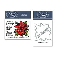 Perfec Poinsettia クリアスタンプ&ダイセット | フォトポリマースタンプ | 透明ゴムスタンプ | クリスマススタンプ | マッチするメタルダイス | ダイカット | クラフトダイス | カットダイス