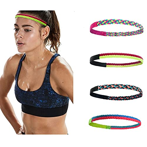 4 Pieces Thick Non-Slip Elastic Sport Headbands Silicone Grip Exercise Hair Bands for Yoga Colorful Skinny Stretchy Braided Sweatband(Pack B)