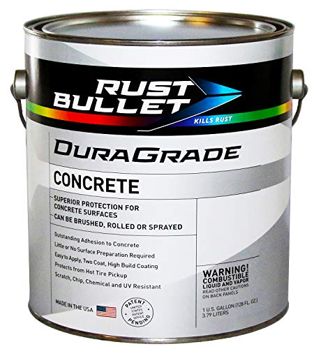 Rust Bullet DuraGrade Concrete High-Performance Easy to Apply Concrete Coating in Vibrant Colors for Garage Floors, Basements, Porch, Patio and More.- (Gallon, Light Grey)