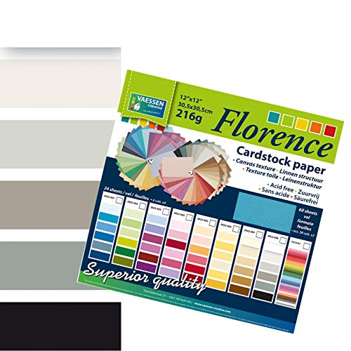 Vaessen Creative Florence Scrapbook-Papier 216 g 12x12-x24 Blatt-Multipack, schwarz, Paper, Multicolor, 30.5 x 30.5 x 0.7 cm
