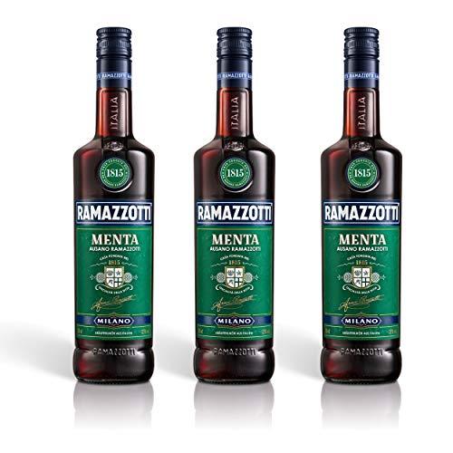Ramazzotti Menta Kräuterlikör 3er Set, mit Minznote, Schnaps, Spirituose, Alkohol, Flasche, 32%, 3 x 700 ml