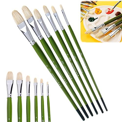 6Pcs Artist Filbert Paint Brushes Set, Hogs Hair Brush Art Paint Brushes, 100% Natural Watercolor Paint Brushes, Hog Hair Paint Brushes for Oil Painting Acrylic Painting (Green)