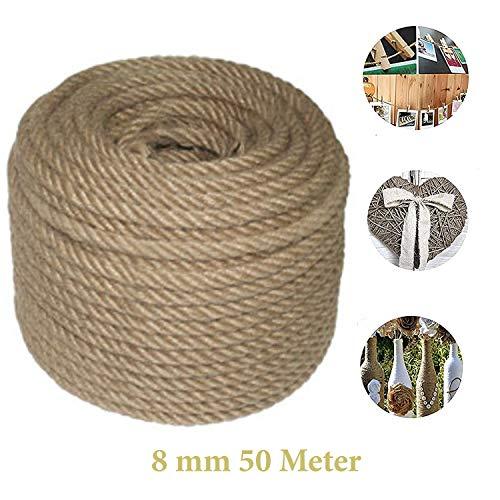 Cuerda de yute para manualidades, 8 mm, 50 metros, para jardín, artesanía, manualidades, cuerda de yut, manualidades, cuerda decorativa