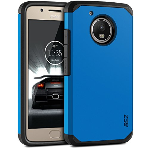 BEZ Hülle für Moto G5 Hülle, Handyhülle Kompatibel für Motorola Moto G5 Stoßfestes Etui, [Heavy Duty Serie] Outdoor Dual Layer Armor Case Handy Schutzhülle [Shockproof] Robuste - Blaue Marine