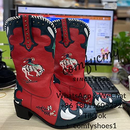 HUDUO Botas Altas para Mujer, Botas Largas Bordadas, Zapatos Ecuestres De Cabeza Cuadrada, Botas De Moda De Estilo Vaquero Occidental para Primavera Y Otoño,Red-38