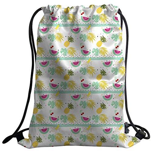 Violetpos Coutume Mode Unisexe Sac de gym Sac à dos Sac de sport Gym Bag Ananas Pastèque Cerise