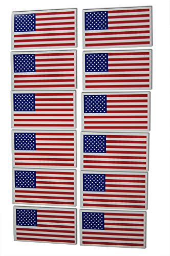 Small American Flag Patriotic Military Magnets Set Mini Rectangles in Classic Red, White, Blue US Design (12 Pieces)