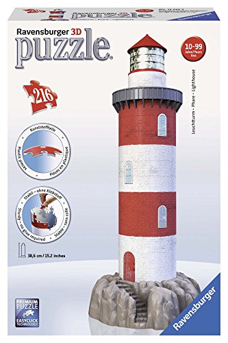 Ravensburger 12565 - Leuchtturm in der Brandung, 216 Teile 3D Puzzle-Bauwerke